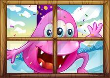 Een roze monster buiten het venster Royalty-vrije Stock Foto