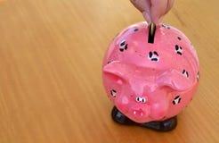 Een roze spaarvarken Stock Fotografie