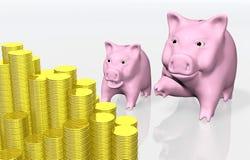 Roze piggy wijst op een stapel muntstukken Stock Afbeeldingen