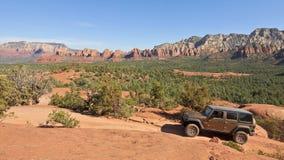 Een Rubicon-Voertuig met vier wielen in Sedona, Arizona Stock Foto's