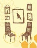 Een ruimte met stoelen en beelden Stock Foto's