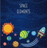 Een ruimteelementenmalplaatje stock illustratie