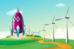 Een ruimteschip dichtbij de windmolens Stock Foto's
