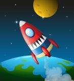 Een ruimtevaartuig in de hemel vector illustratie