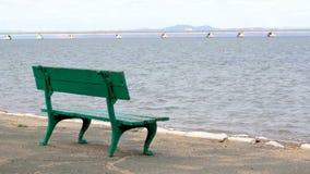 Een rust parkbank en een mening van de kust van een laag-waterbrug van de Sedanka-post aan het schiereiland van DE Friz over Amu