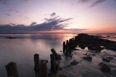 Een rustige zonsondergang in Waddensea Royalty-vrije Stock Afbeelding