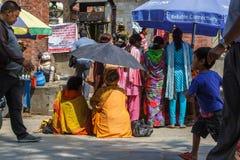 Een Sadhu-zitting tijdens het Indra Jatra-festival in Katmandu, Ne Royalty-vrije Stock Afbeelding