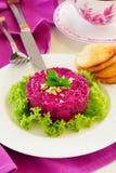 Een salade van bieten en noten Royalty-vrije Stock Fotografie