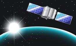 Een satelliet in outerspace Stock Afbeelding