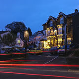 Een scène van de Nacht in bowness-op-Windermere Stock Foto's