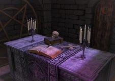 Een scène van een donker ritueel altaar royalty-vrije illustratie