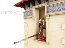 Een schaakpand in een ridderspantser in de toren, 3d Illustratie Royalty-vrije Stock Afbeeldingen