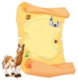 Een schatkaart naast een het glimlachen paard Stock Afbeeldingen