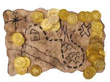 Een schatkaart om gouden te vinden stock foto