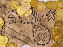 Een schatkaart om gouden te vinden stock foto's