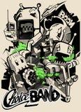 Een schets van een druk het verhaal van het leven van robots Illustratie Royalty-vrije Stock Afbeelding