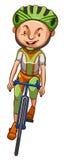 Een schets van een jongen die een fiets berijden Stock Foto's