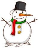 Een schets van een sneeuwman Stock Afbeelding