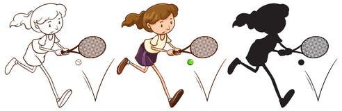 Een schets van een tennisspeler in verschillende kleuren Stock Foto