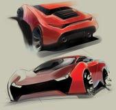 Een schets van het ontwerp van een moderne futuristische sportwagen Illustratie Stock Foto's