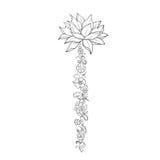Een schets van mooie lotuses in een bevallig ornament op een witte achtergrond royalty-vrije stock foto's