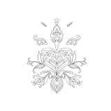 Een schets van mooie lotuses in een bevallig ornament op een witte achtergrond stock afbeelding