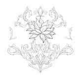 Een schets van mooie lotuses in een bevallig ornament op een witte achtergrond royalty-vrije stock afbeelding