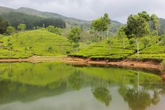 Een schilderachtig meer in de heuvels van Sri Lanka royalty-vrije stock foto's