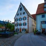 Een Schilderachtige hoek van de Beierse stad Fussen in Duitsland op de oude Roman route Stock Foto