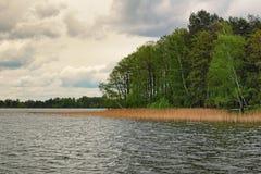 Een schilderachtige plaats voor rust en visserij op de kust van het meer Volyngebied ukraine Stock Foto's