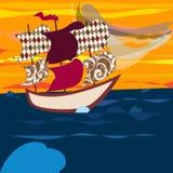 Een schip en de wind wegen stock illustratie