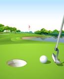 Een schone en groene golfcursus royalty-vrije illustratie