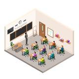Een schoolruimte voor studie, een klaslokaal met bureaus en een school schepen, een moderne klasse in isometrische stijl in vector illustratie