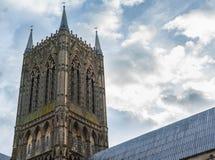 Een schot van de spits van Lincoln Cathedral, Lincolnshire stock foto's