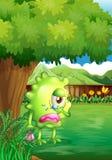 Een schreeuwend monster onder de boom stock illustratie