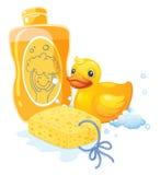Een schuimbad met een spons en een stuk speelgoed eend royalty-vrije illustratie