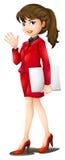 Een secretaresse die een rood uniform dragen Royalty-vrije Stock Afbeeldingen