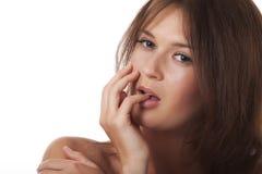 Een sensuele vrouw met een hand rond een persoon Stock Afbeelding