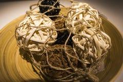 Een sferisch die voorwerp door wijnstokken wordt geweven stock foto's