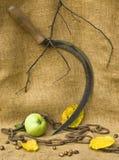 Een sikkel met een ketting en een appel in de herfststemming Stock Foto