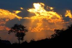Een silhouet bij zonsondergang. Royalty-vrije Stock Foto's