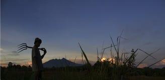 Een silhouet die van lopende landbouwer de werkplaats gaan Royalty-vrije Stock Afbeeldingen