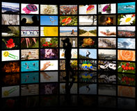 Een silhouet van een fotograaf met zijn foto's Stock Afbeeldingen