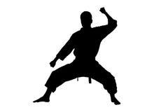 Een silhouet van een karatemens Stock Foto