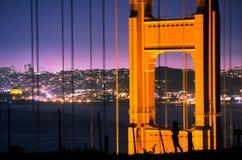 Golden gate bridge en Silhouet Royalty-vrije Stock Foto's