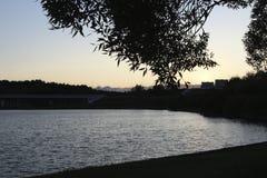 Een silhouet van het stadspark over de rivier stock afbeelding