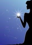 Een silhouet van vrouw met een ster Stock Afbeelding