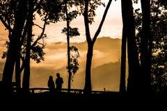 Een silhouetpaar Stock Foto's
