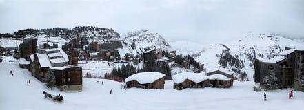 Een skitoevlucht in de Franse Alpen, Royalty-vrije Stock Afbeelding