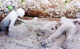 Een slachtoffer in Pompei van de uitbarsting van de Vesuvius stock fotografie